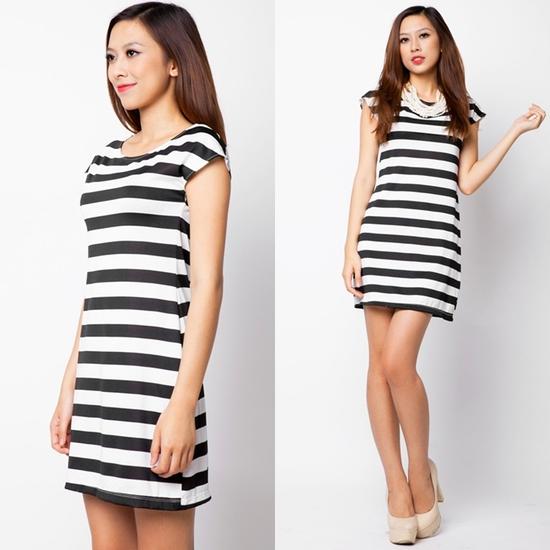 Đầm suông sọc ngang trắng đen cá tính