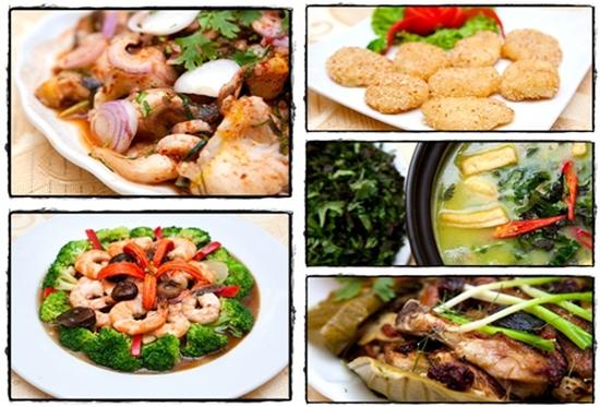 Cá tầm rang muối, Gà hấp lá sen, Tôm sốt lơ xanh... dành cho 04 người tại Nhà hàng Ba Ba Sơn Đông - Chỉ với 405.000đ