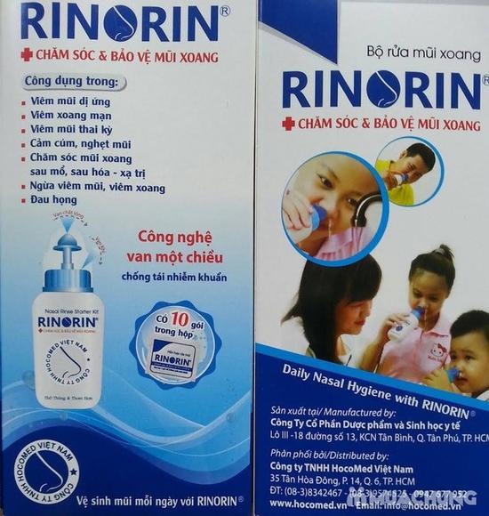 Bình rửa mũi họng Rinorin + 10 gói dung dịch rửa mũi
