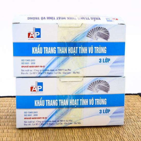 2 hộp khẩu trang than hoạt tính kháng khuẩn 3 lớp