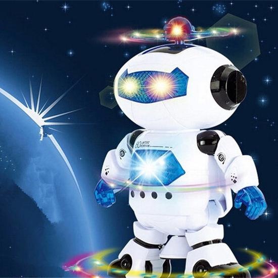 Rô bốt thông minh xoay 360 độ phát sáng, phát nhạc