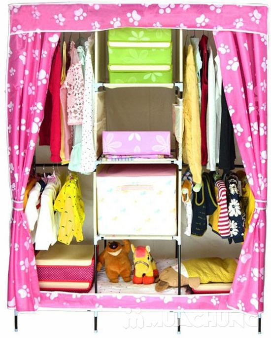 Tủ vải cao cấp 3 buồng 8 ngăn họa tiết