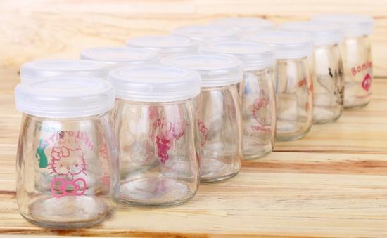Bộ 12 hủ làm sữa chua thủy tinh họa tiết đáng yêu