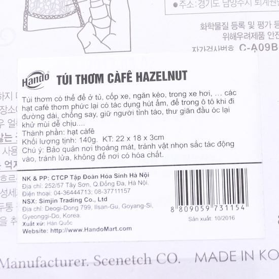 Túi thơm treo xe & tinh dầu Hazelnut hương cà phê