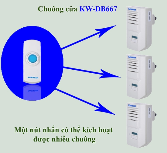 Chuông cửa không dây lắp ngoài trời KW- DB667