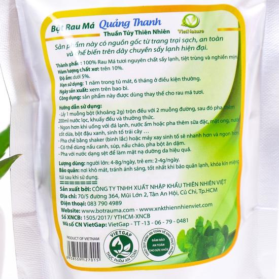 Bột Rau má Quảng Thanh 100% nguyên chất gói 100g