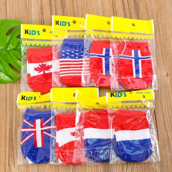 5 đôi tất họa tiết lá cờ, chống trượt cho bé yêu