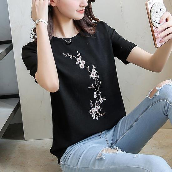 Áo len nữ thêu hoa chất đẹp - hàng Quảng Châu