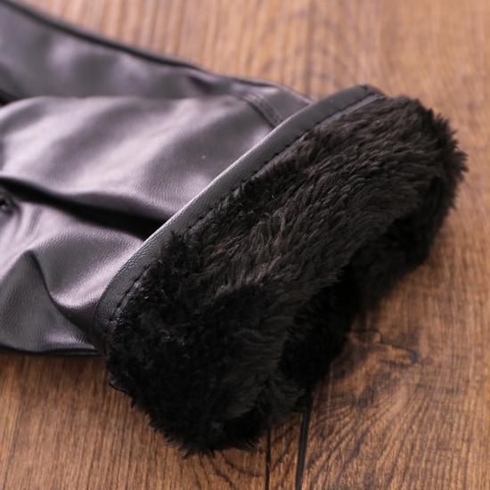 Găng tay da nam cảm ứng, lót lông ấm áp ngày lạnh