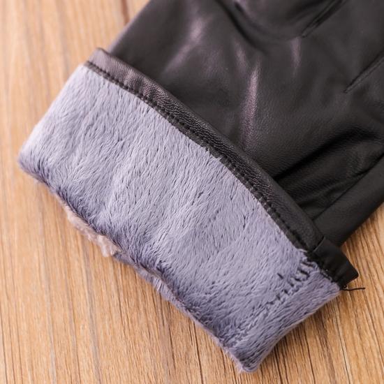 Găng tay giả da lót lông ấm áp