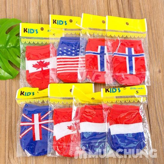 05 Đôi tất họa tiết lá cờ, chống trượt cho bé yêu