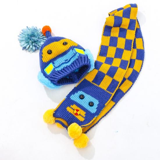 Set khăn dài + mũ len hình robot ngộ nghĩnh cho bé