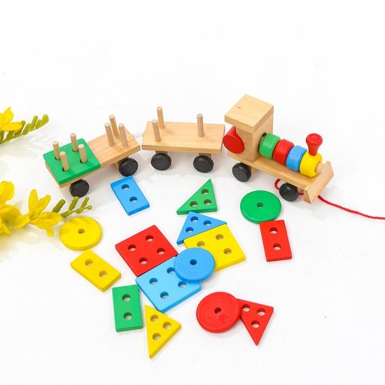 Bộ tàu hỏa thả hình bằng gỗ cho bé