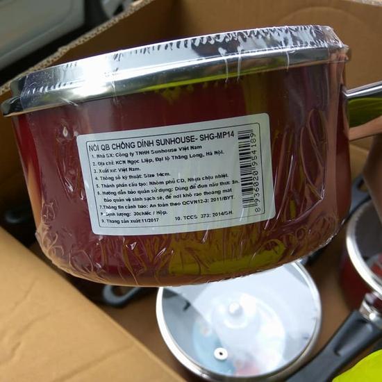Nồi nấu quấy bột chống dính Sunhouse 14cm nắp kính