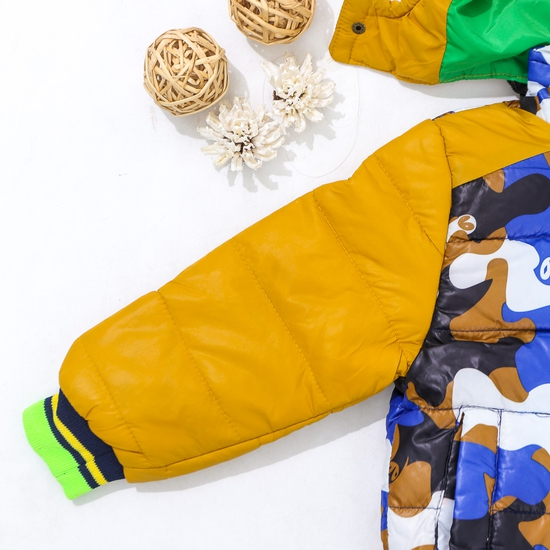 Áo phao lót lông họa tiết ấm áp cho bé trai