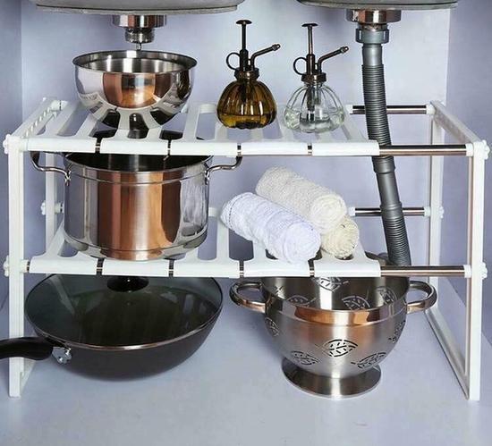 Kệ 2 tầng đa năng có thể đặt dưới bồn rửa tiện dụng