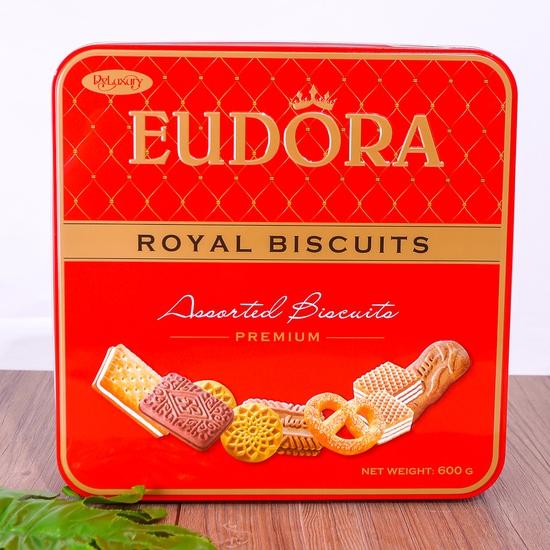 Bánh quy tổng hợp Eudora hộp thiếc 600g thơm, giòn