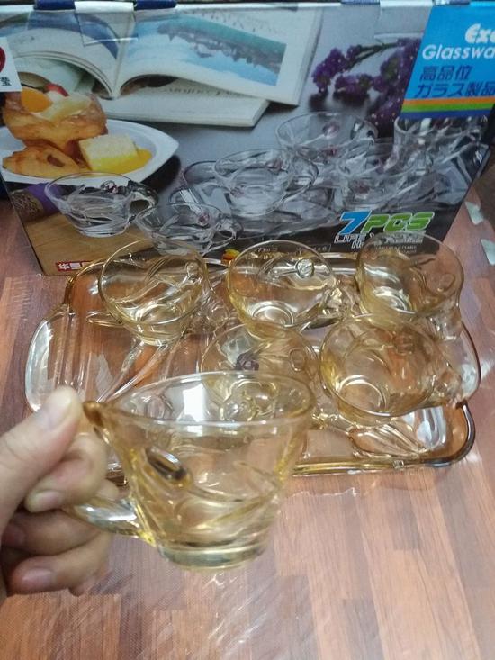 Bộ cốc cafe + khay thủy tinh vàng (nhiều kiểu)