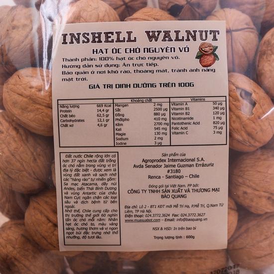 Gói 600gr hạt óc chó CHILE nguyên vỏ bổ dưỡng