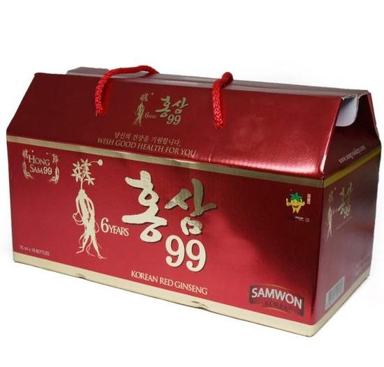 Hộp 10 chai nước uống hồng sâm 99 NK Hàn Quốc