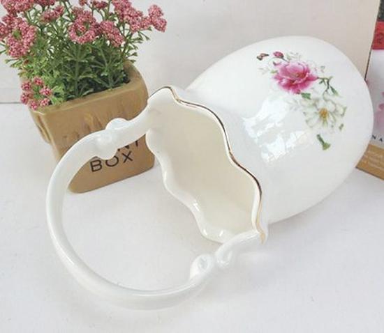 02 ống cắm thìa dĩa hình giỏ hoa bằng sứ