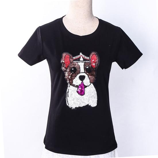 Áo phông cotton đính hình cún trẻ trung, xinh yêu