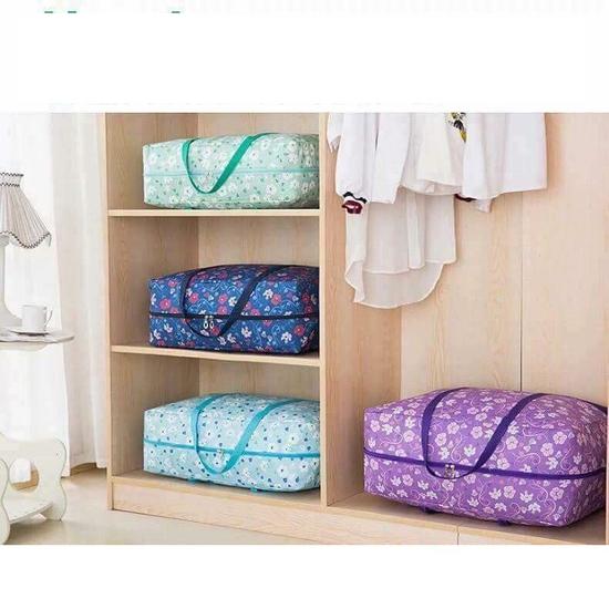 Set 3 túi đựng quần áo chăn màn vải họa tiết
