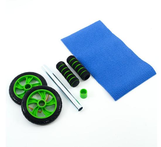 Con lăn tập cơ bụng bánh xe xanh lá + tặng kèm thảm lót gối