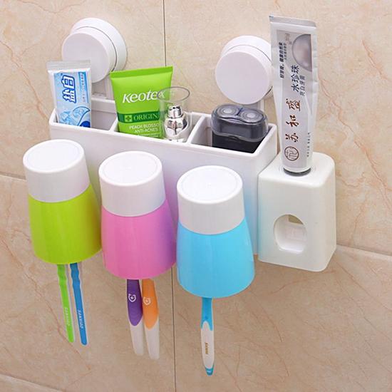 Bộ nhả kem đánh răng tự động, kẹp bàn chải & 3 cốc