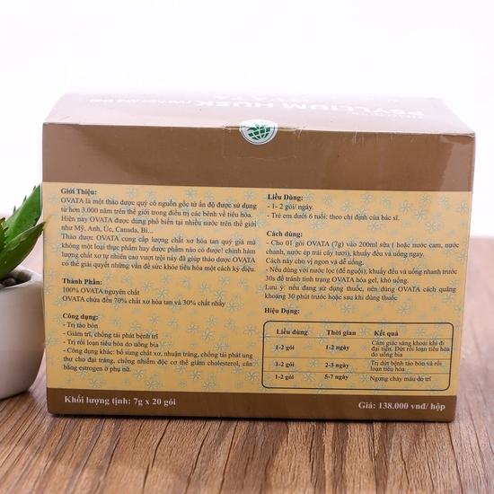 2 hộp vỏ hạt mã đề OVATA hỗ trợ trị trĩ, táo bón