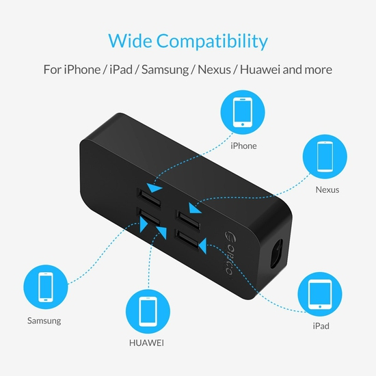 SẠC ĐIỆN THOẠI USB 4 CỔNG ORICO DCV-4U (20W)