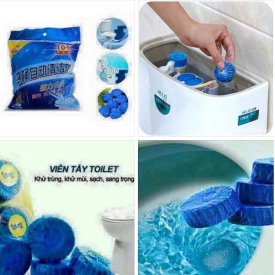 Com bo 20 viên tẩy toilet hương hoa hồng khử mùi Toilet