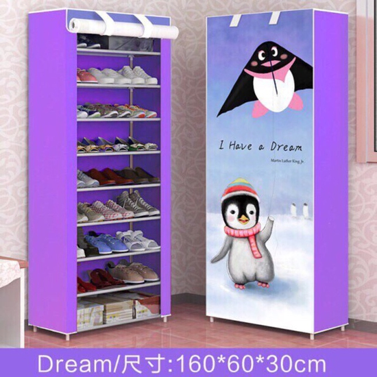 Tủ đựng giày dép quần áo cao cấp khung INOX 10 tầng ( có màu tím)