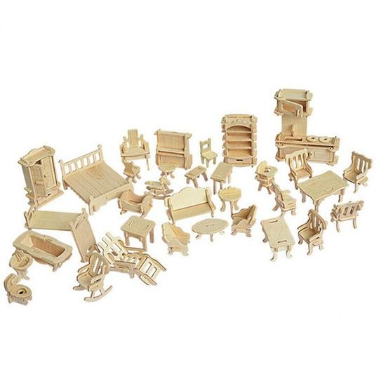 Đồ chơi ghép hình 3D bằng gỗ 184 chi tiết cho bé(Vàng)
