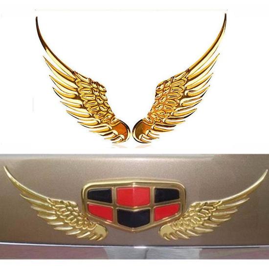 Trang trí logo cánh thiên thần (Vàng) - tặng 1 khăn lau ô tô siêu thấm.