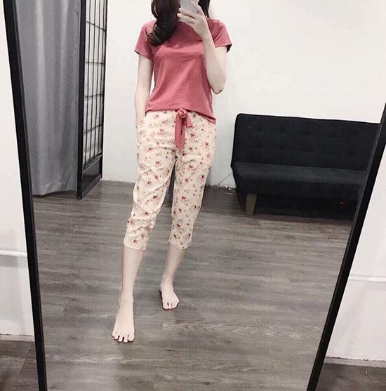 Bộ mặc nhà áo cotton quần thô thái