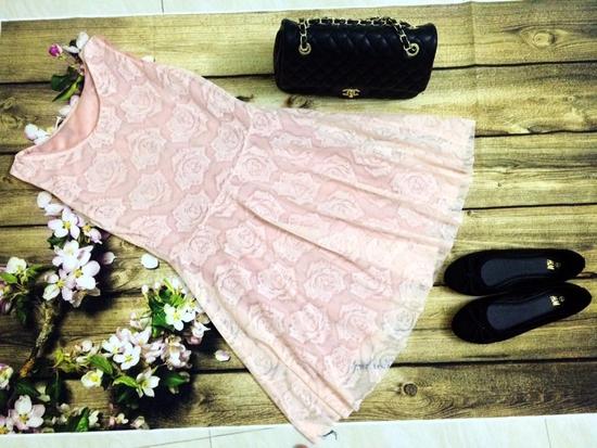 Váy ren họa tiết hoa QC cao cấp