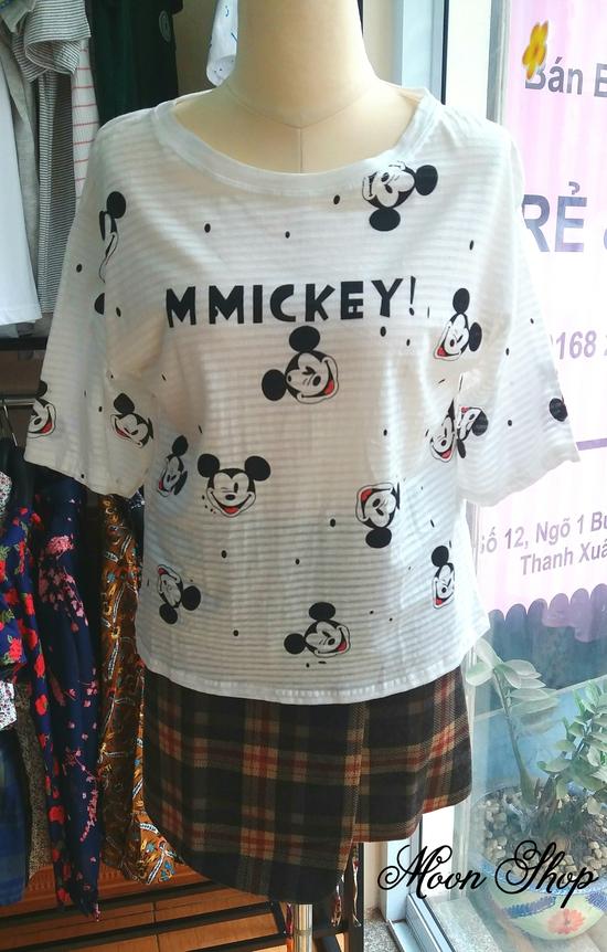 Áo Thun Cotton Họa Tiết Mickey Dễ Thương