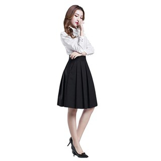 Chân váy ngắn đến ĐẦU GỐI XẾP LY (ĐEN)