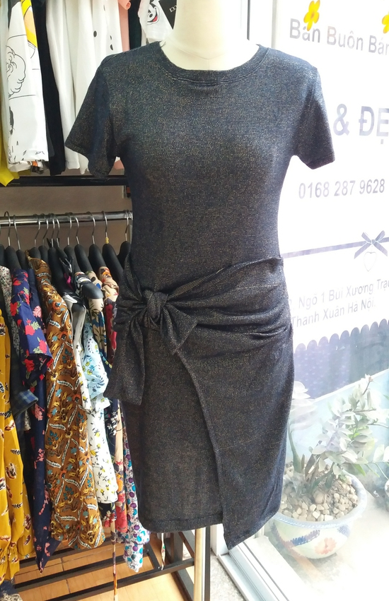 Đầm nhũ cách điệu nơ eo from body