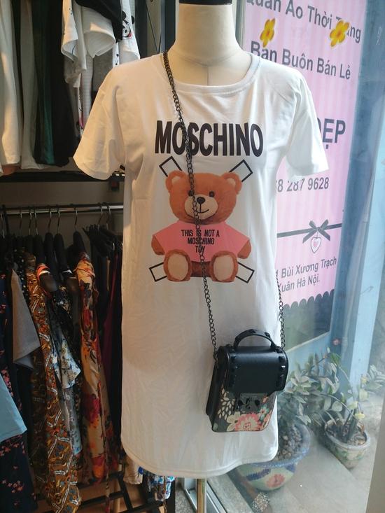 Đầm Thun Moschino Gấu Hồng