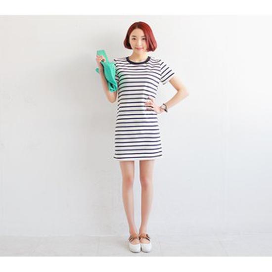 Váy kẻ ngang TRẮNG