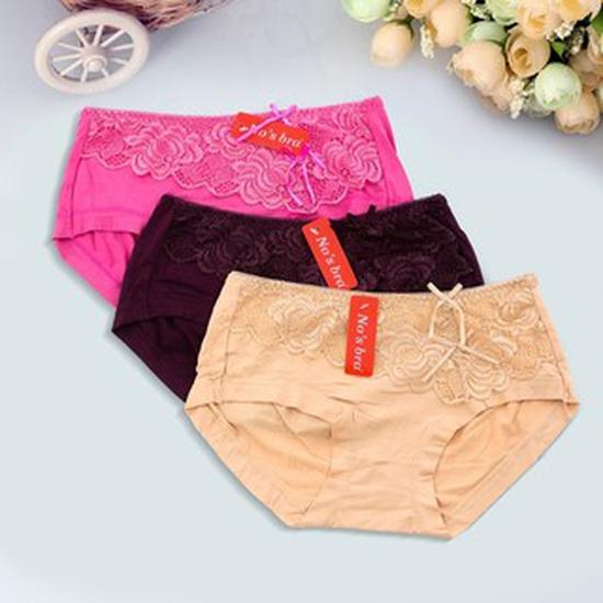 3 quần cotton ren cạp cao No'bra Thái Lan mã 826