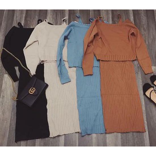 Set đầm body len gân 2 dây + áo len lệch vai