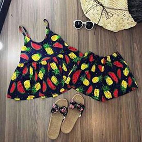 Bộ mặc nhà hai dây họa tiết hoa quả