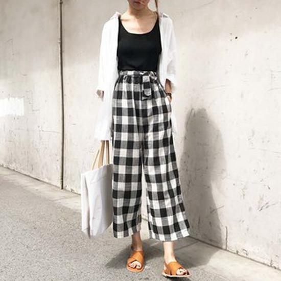 Quần culottes KẺ CARO thời trang, cá tính