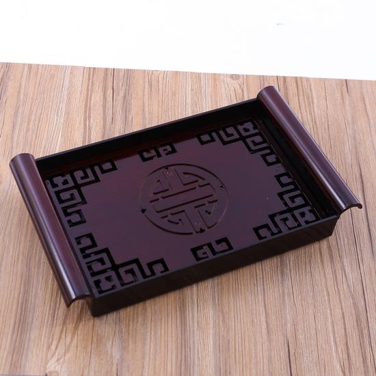 Khay đựng cốc, chén trà giả gỗ size nhỏ - hàng VN