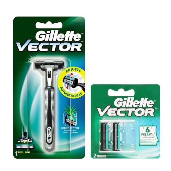 Bộ dao cạo râu 2 lưỡi kép Gillette Vector và vỉ 2 lưỡi dao kép