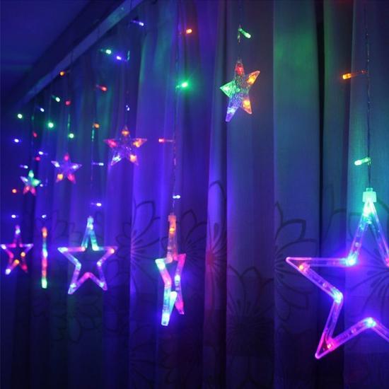 Đèn led rèm hình ngôi sao trang trí nhiều màu sắc