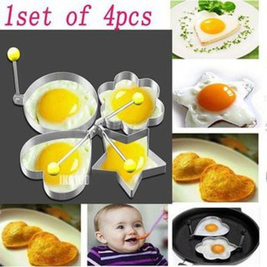Combo 4 Khuôn Inox Chiên Trứng/Làm Bánh Đa Năng